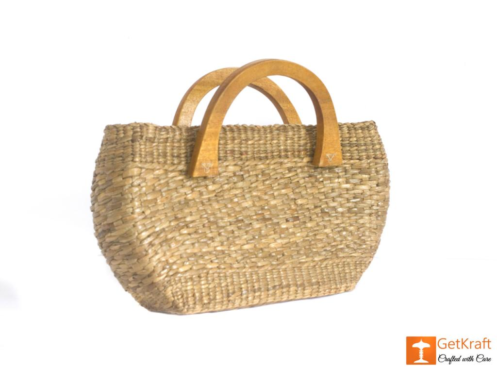 Natural Straw Oval Shaped Handbag with wooden handle(#436)-gallery-2