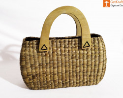 Water Hyacinth Oval Shaped Handbag with wooden handle(#436) - getkraft.com