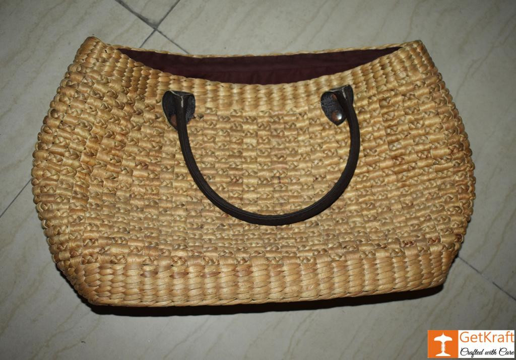Natural Straw Handmade Oval shaped bag(#437)-gallery-1