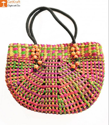 Natural Straw Handmade Multi-coloured Bag(#438)-gallery-0