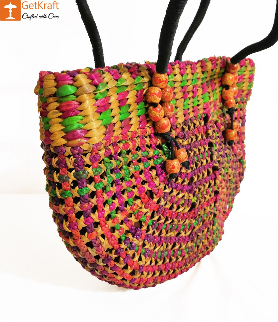 Natural Straw Handmade Multi-coloured Bag(#438)-gallery-1
