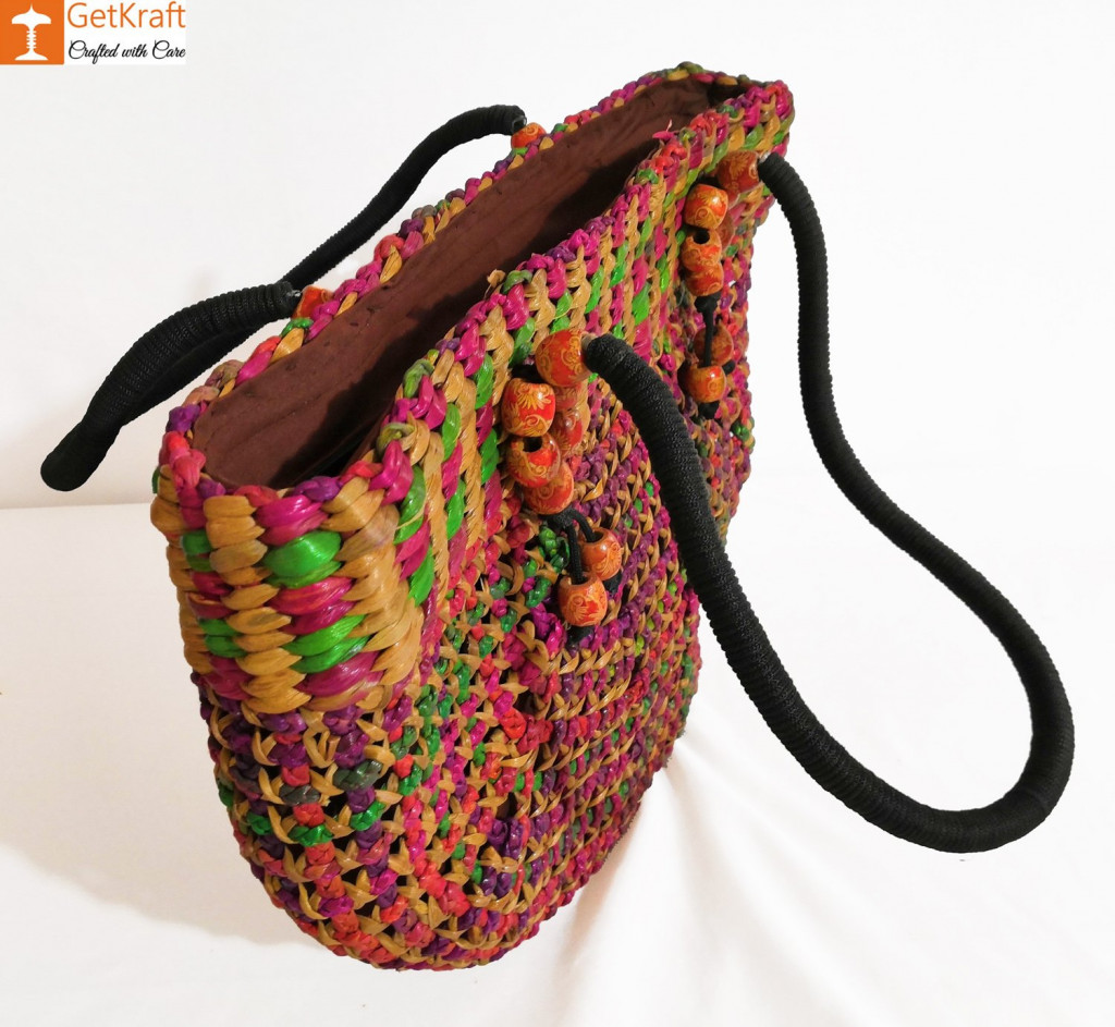 Natural Straw Handmade Multi-coloured Bag(#438)-gallery-2