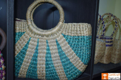Natural Straw Designer Multi-coloured Hand Bag(#440)-gallery-0
