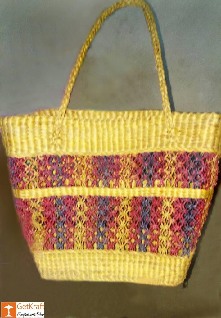 Natural Straw V-shaped Handmade Shopping Bag(#441)-gallery-0