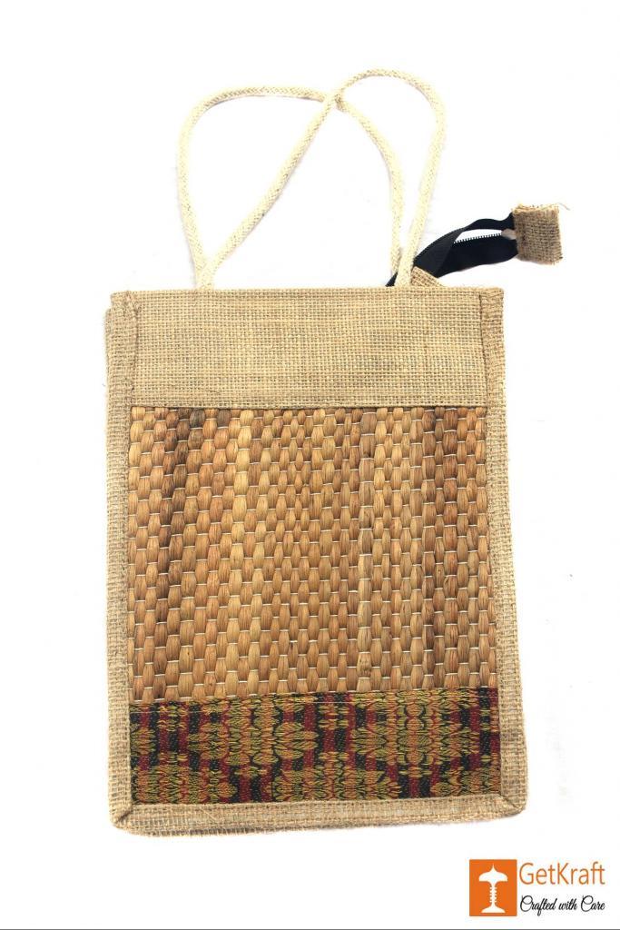 Jute- Water Hyacinth Handbag Unisex(Natural jute and water hyacinth Color with Maroon)(#443)-gallery-0