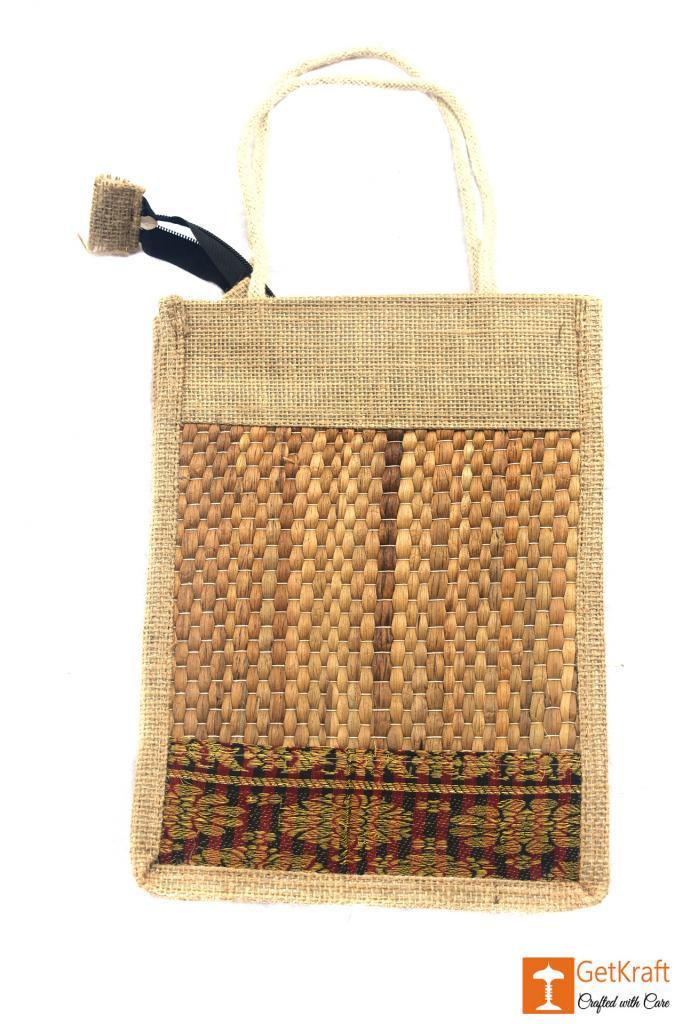 Jute- Water Hyacinth Handbag Unisex(Natural jute and water hyacinth Color with Maroon)(#443)-gallery-1