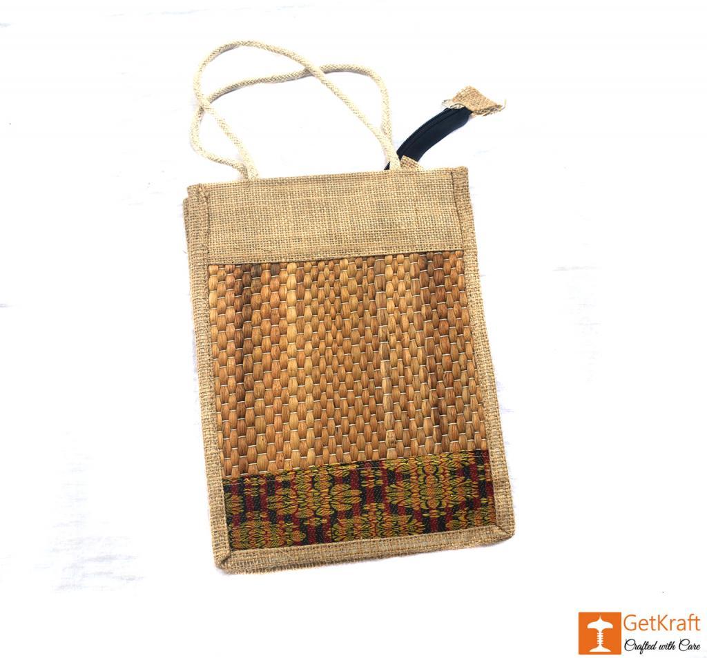 Jute- Water Hyacinth Handbag Unisex(Natural jute and water hyacinth Color with Maroon)(#443)-gallery-2