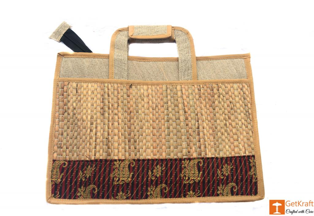 Jute and Natural Straw Unisex Handbag(#444)-gallery-0