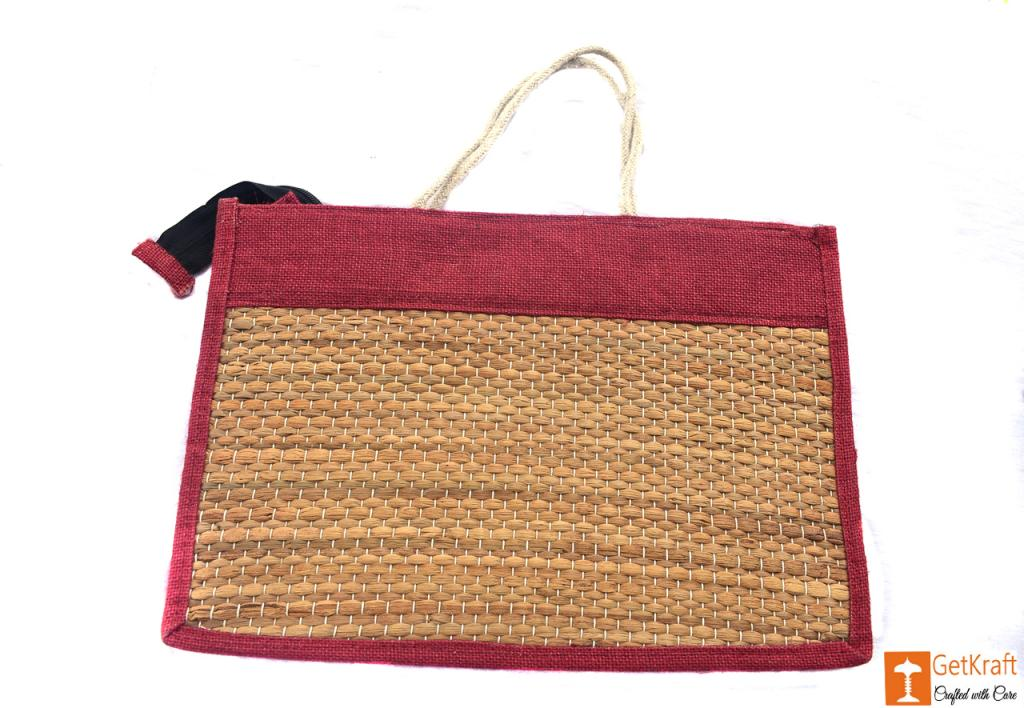 Jute - Natural Straw Handicraft Handbag with Maroon border(#446)-gallery-1