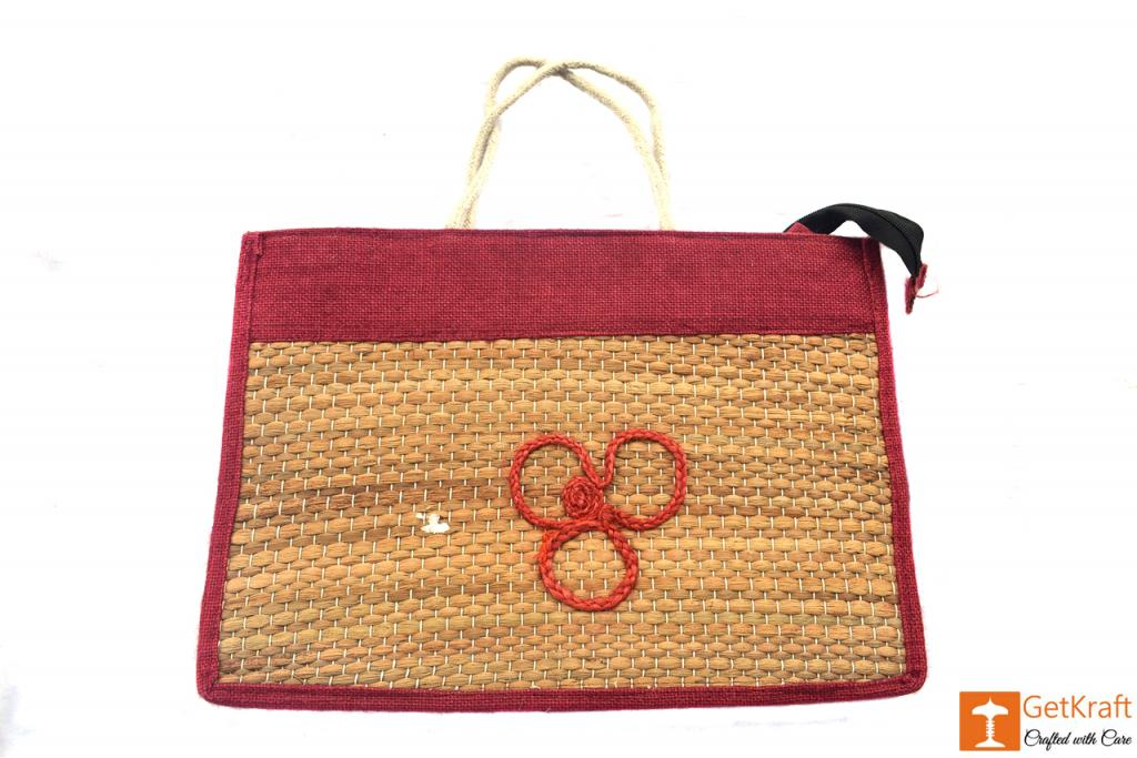 Jute - Natural Straw Handicraft Handbag with Maroon border(#446)-gallery-0