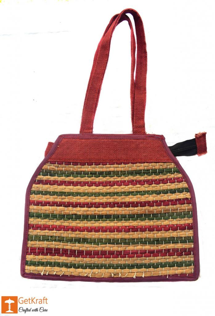 Stylish Jute and Natural Straw Handbag with Colored Stripes and Zip Closure(#447)-gallery-0