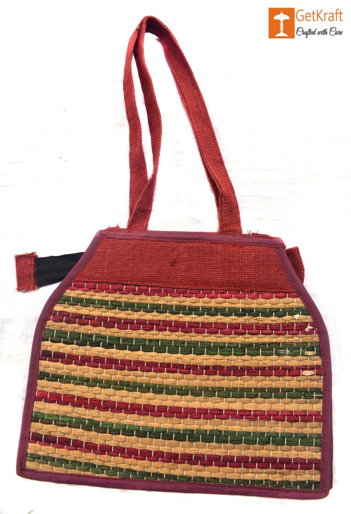 Stylish Jute and Natural Straw Handbag with Colored Stripes and Zip Closure(#447)-gallery-1