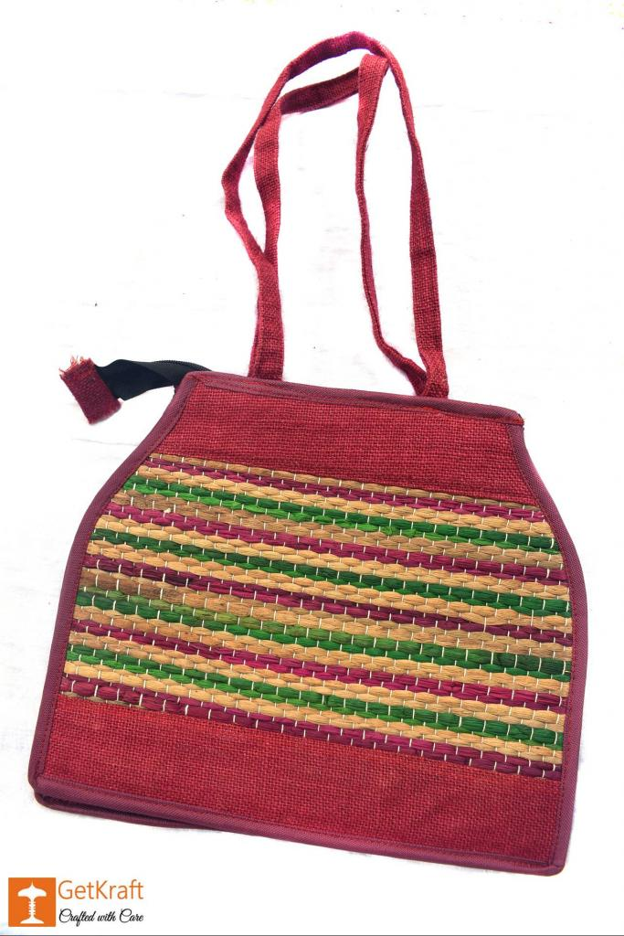 Natural Straw - Jute bag Handmade with Multicolored stripes(#449)-gallery-0