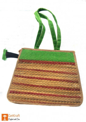 Trendy and colorful Jute - Natural Straw Handbag (Green and Brown patterns)(#450)-gallery-0