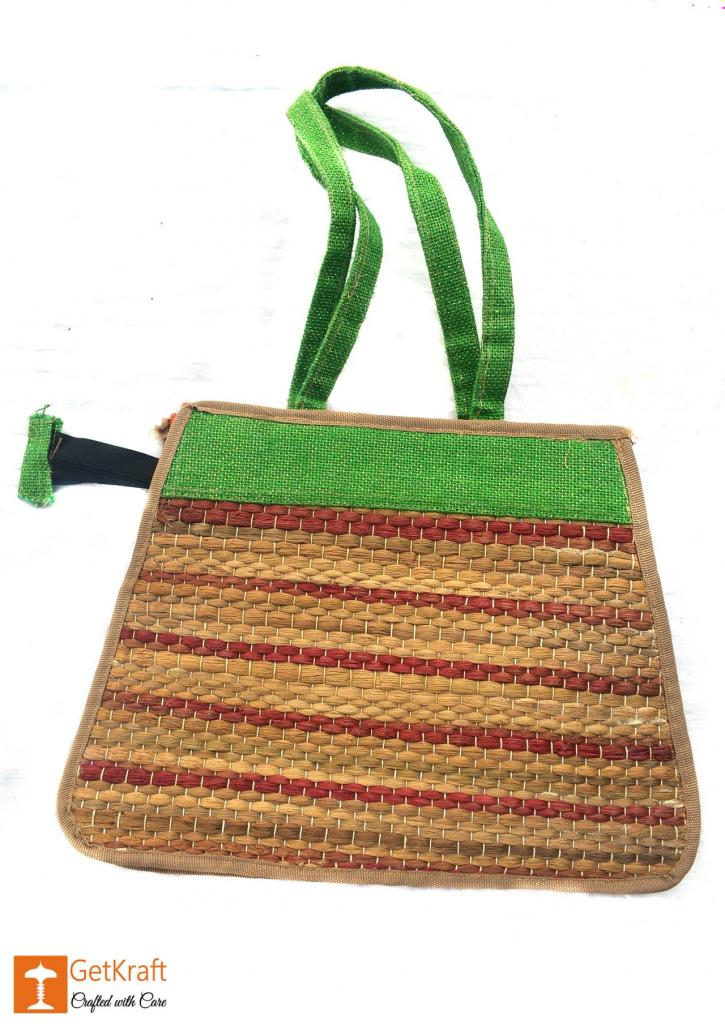 Trendy and colorful Jute - Water Hyacinth Hand bag (Green and Brown patterns)(#450)-gallery-0