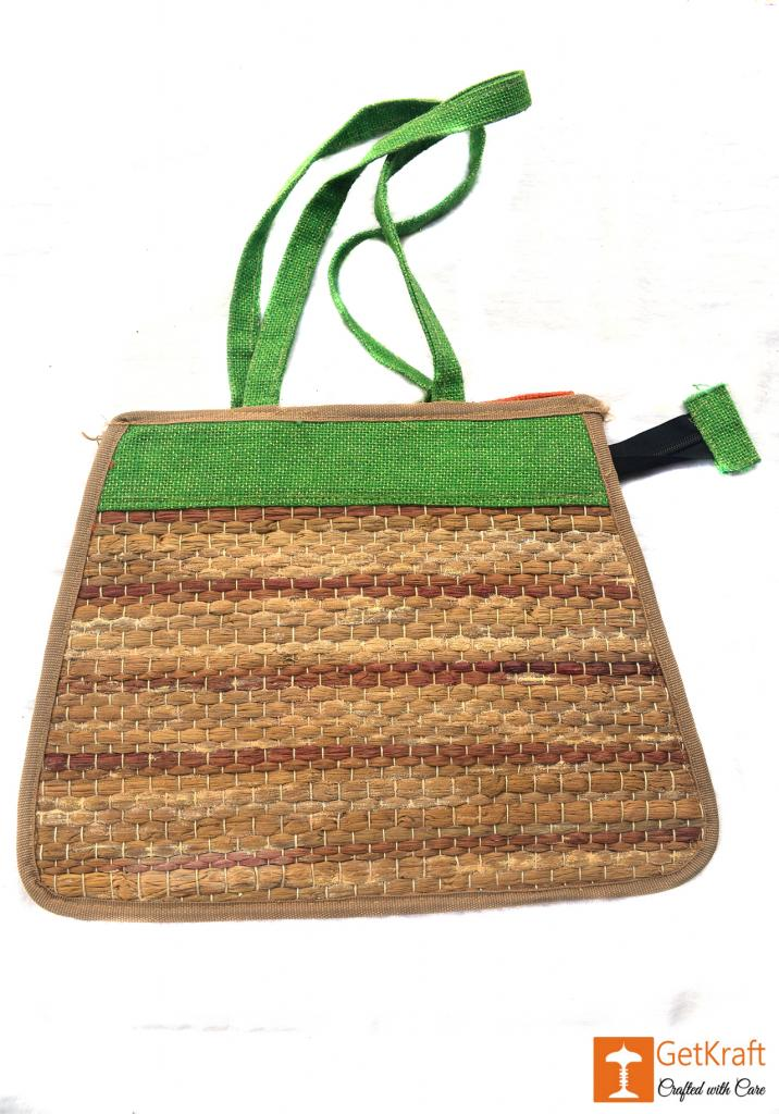 Trendy and colorful Jute - Water Hyacinth Hand bag (Green and Brown patterns)(#450)-gallery-1