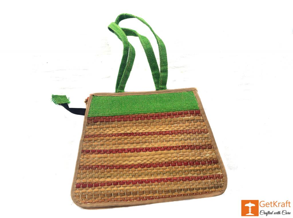 Trendy and colorful Jute - Water Hyacinth Hand bag (Green and Brown patterns)(#450)-gallery-2