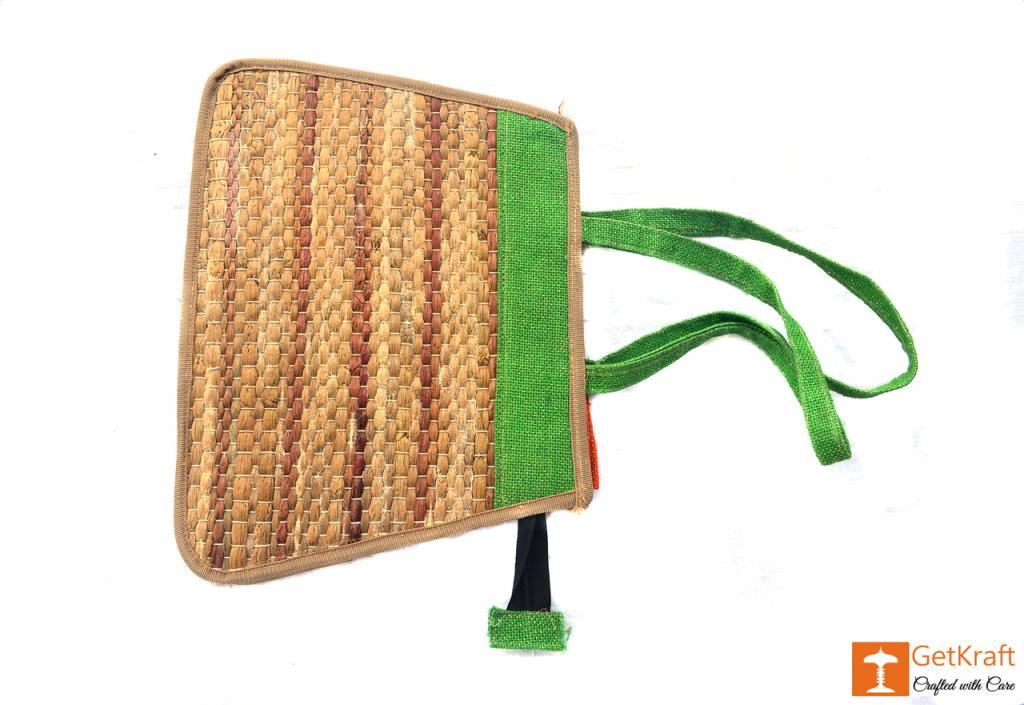 Trendy and colorful Jute - Water Hyacinth Hand bag (Green and Brown patterns)(#450)-gallery-3