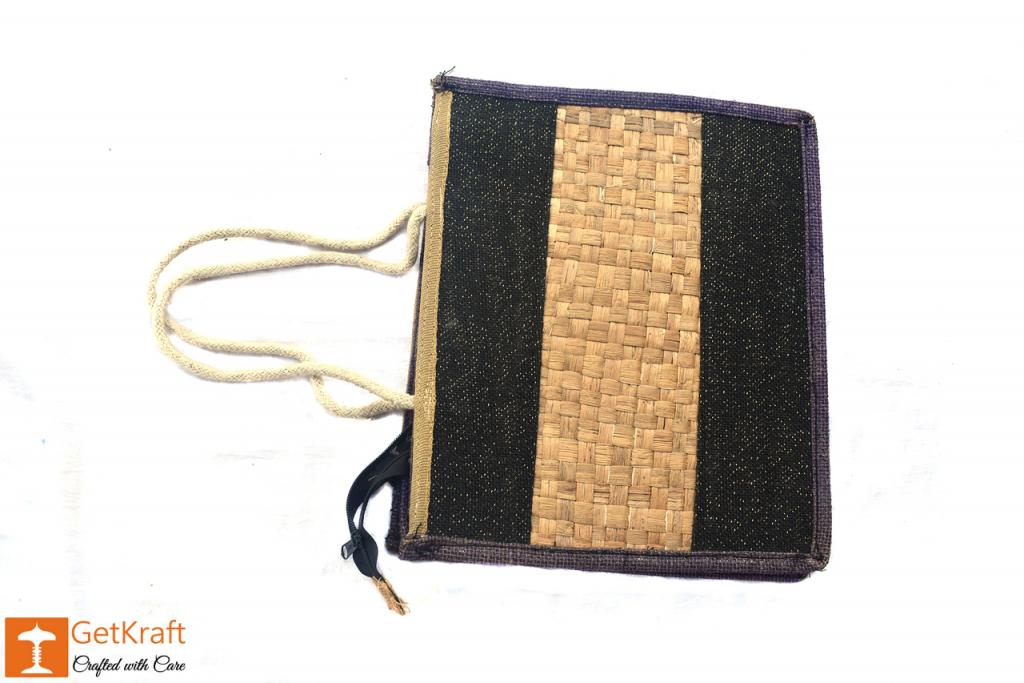 Jute Natural Straw Black and Natural Jute color Zip closure Bag(#451)-gallery-1