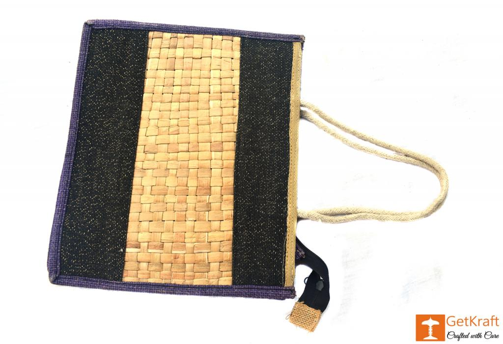 Jute Natural Straw Black and Natural Jute color Zip closure Bag(#451)-gallery-0
