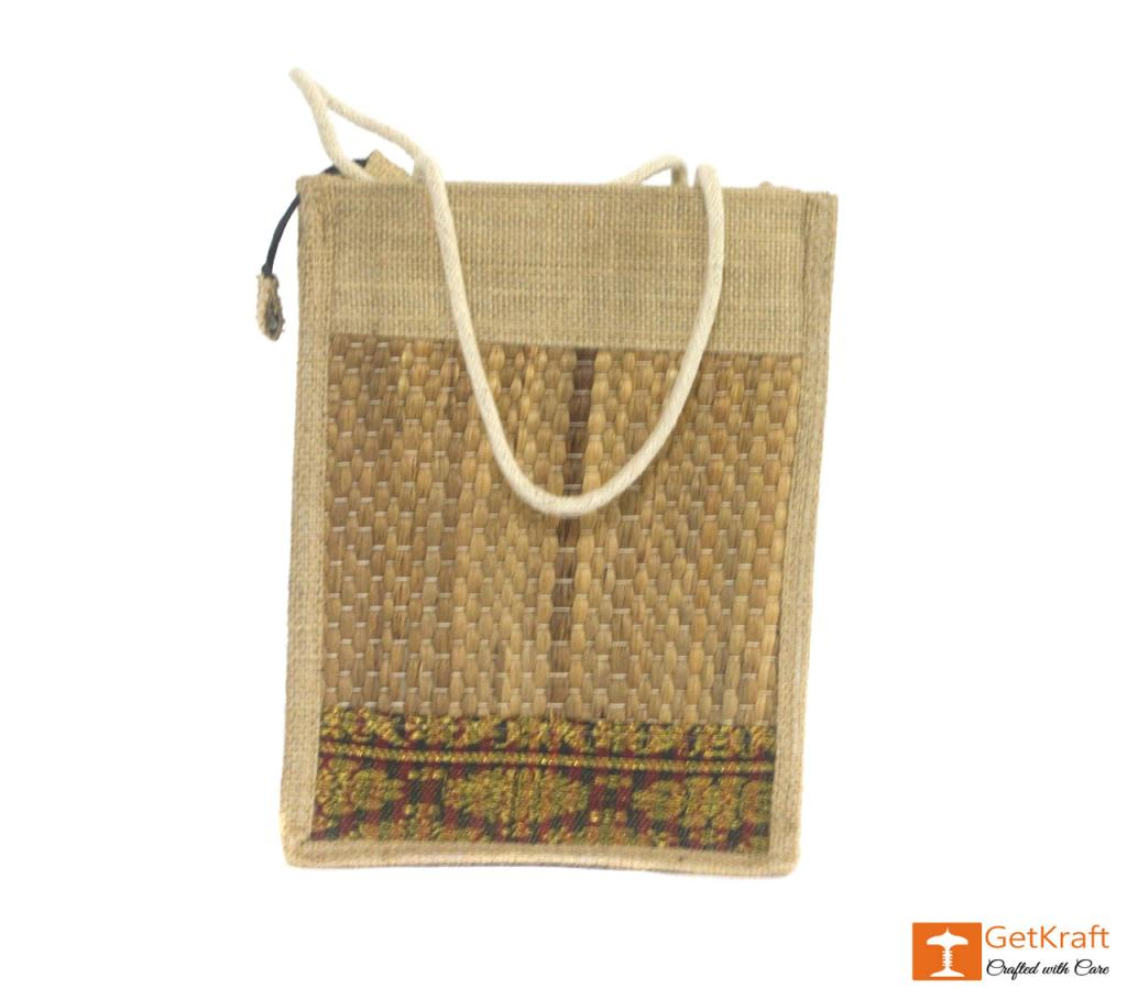 Solid Jute and Water Hyacinth Handbag (Multicolored patterns)(#456)-gallery-1