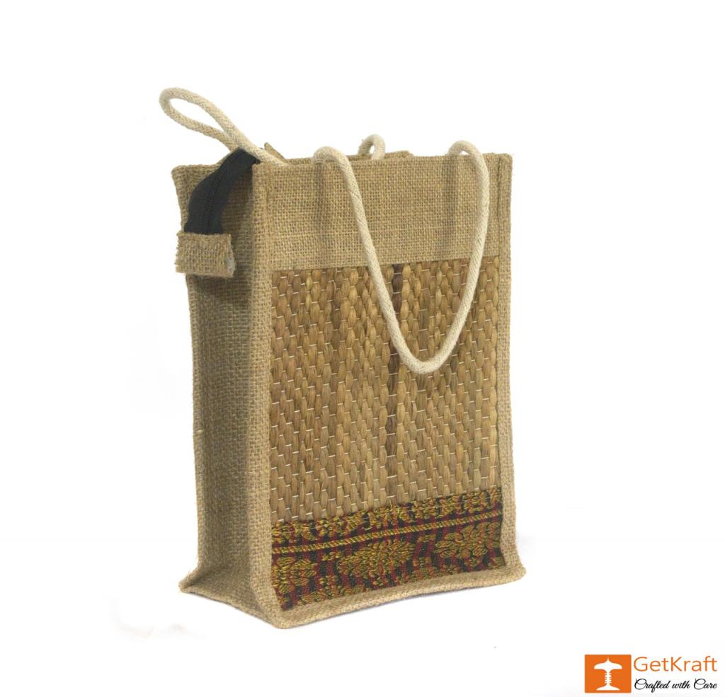 Solid Jute and Water Hyacinth Handbag (Multicolored patterns)(#456)-gallery-0
