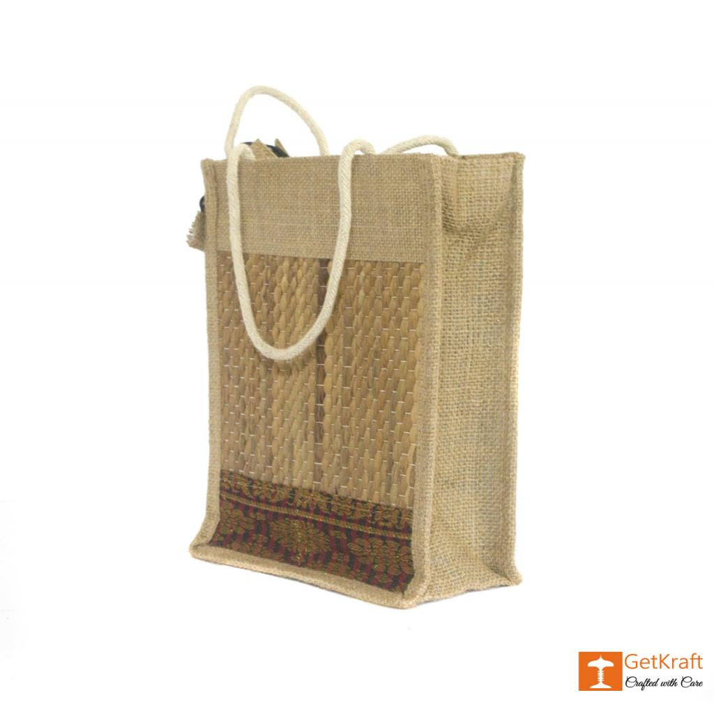 Solid Jute and Water Hyacinth Handbag (Multicolored patterns)(#456)-gallery-2