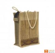 Solid Jute and Natural Straw Handbag (Multicolored patterns)(#456) - getkraft.com