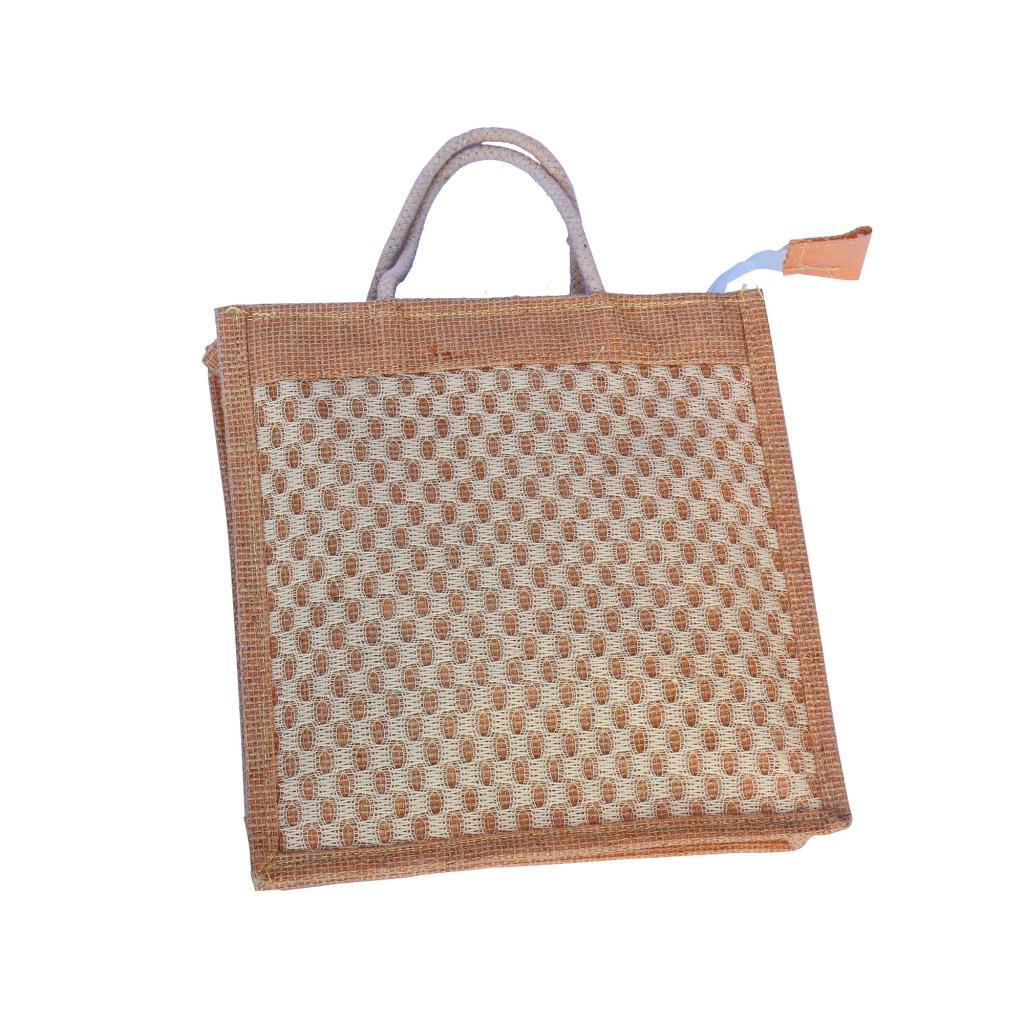 Handwoven Jute Handbag (White and Natural Jute color)(#462)-gallery-1