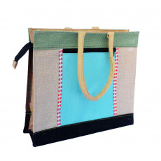 Jute Handbag with multiple zip compartments (Multicolored)(#463)-gallery-0