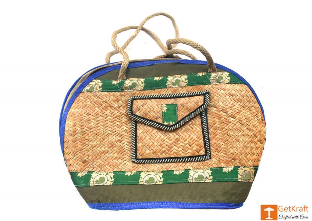 Sitalpati Oval Shaped Multi-Coloured Handbag(#479)-gallery-0