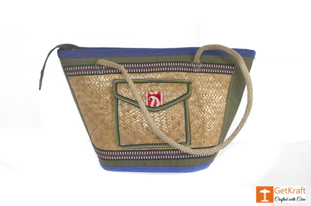Sitalpati Handmade Bag with various coloured designs(#484)-gallery-0