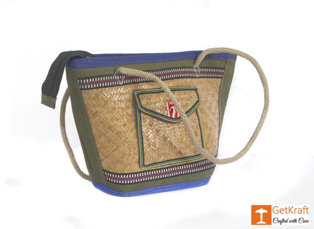 Sitalpati Handmade Bag with various coloured designs(#484)-gallery-1