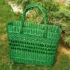 Large Natural Straw Green colored Handbag(#514) - getkraft.com