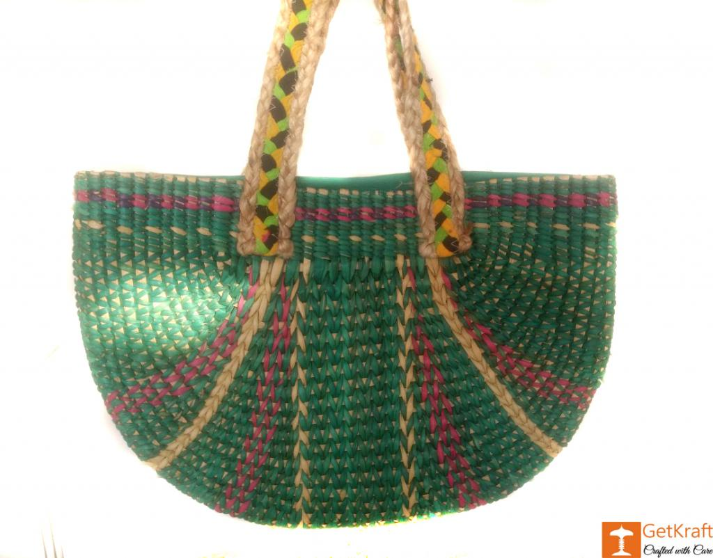 Large Natural Straw Multicolored Handbag(#517)-gallery-0