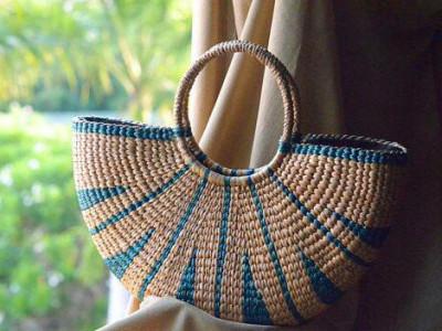 Large Natural Straw Multicolored Handbag(#521)-gallery-0