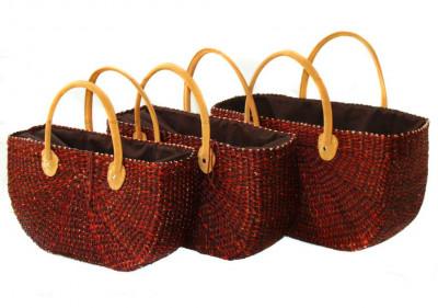 Large Red Natural Straw Handbag(#522)-gallery-0