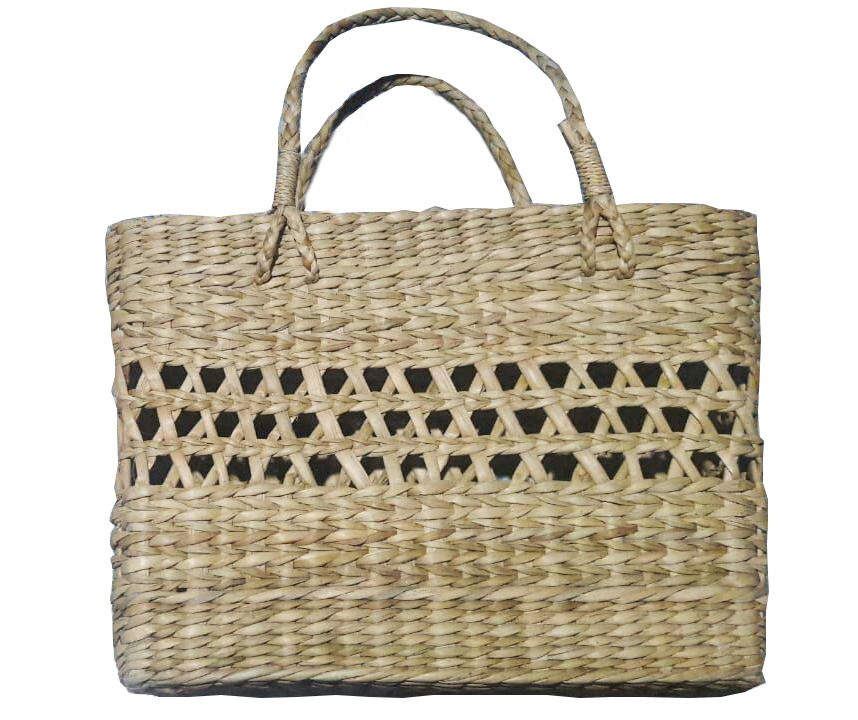 Large Natural Straw Handbag with design(#525)-gallery-0