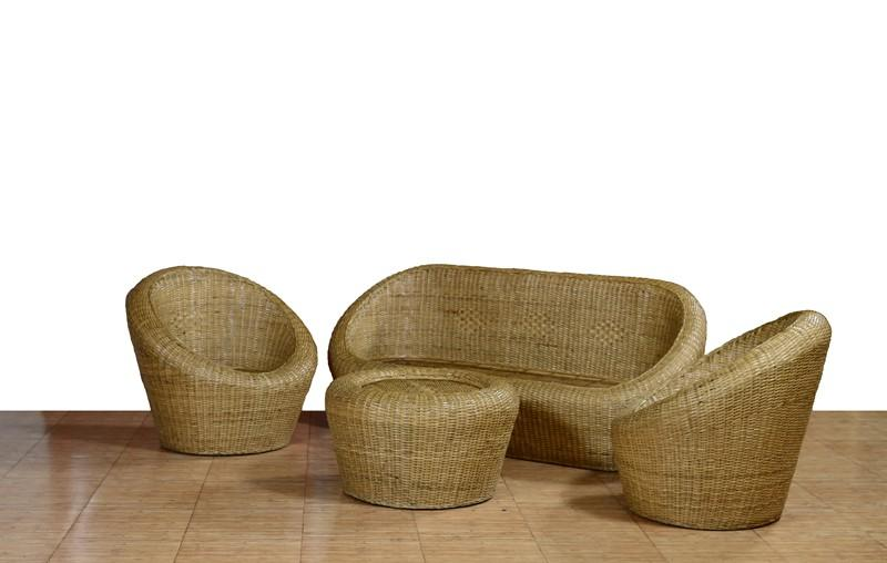 Sofa Set from Cane 3 1 1 with table(#562)-gallery-0