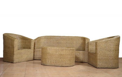 Cane Designer Sofa Set with Table 3 1 1(#565)-gallery-0