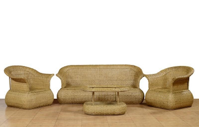 Cane Designer Sofa Setting with Trendy Style(#567)-gallery-0
