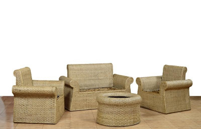 Cane Sofa Set 2 1 1 with table(#568)-gallery-0