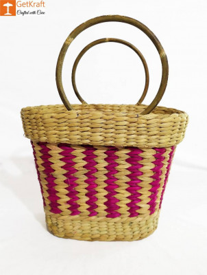 Large Natural Straw Multicolored Handbag(#578)-gallery-0
