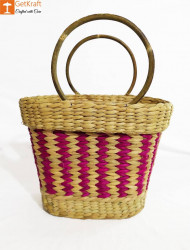 Large Natural Straw Multicolored Handbag(#578) - getkraft.com