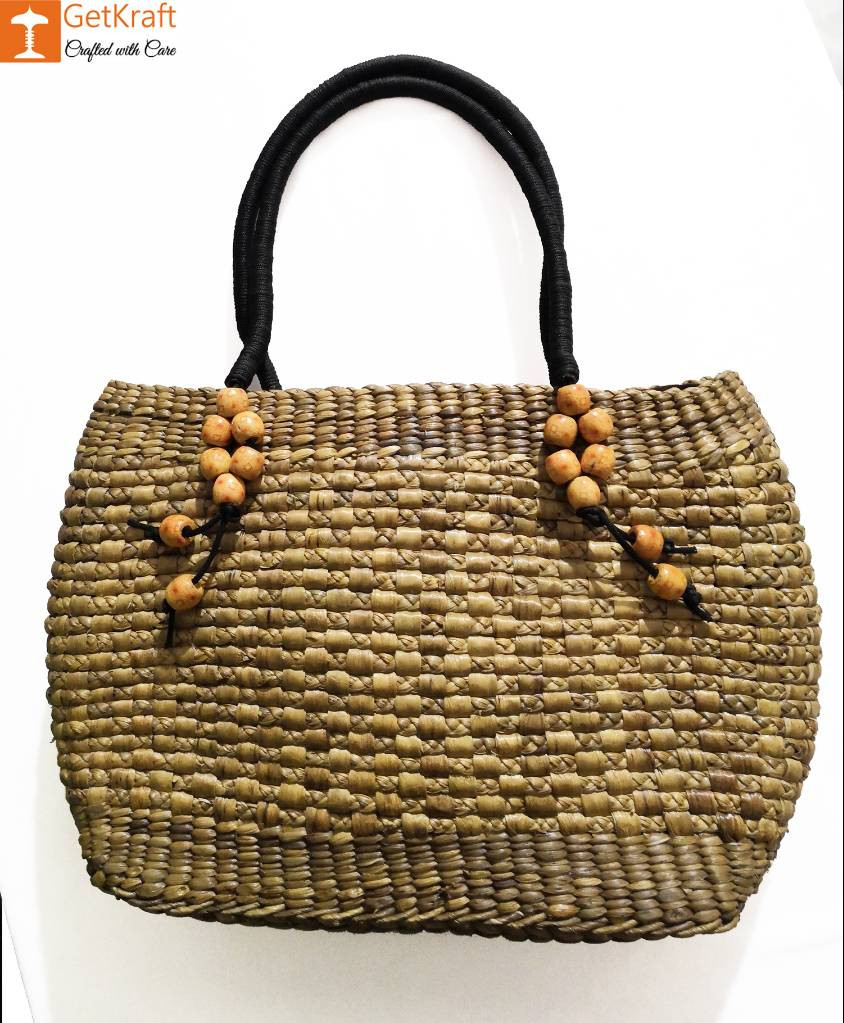 Medium-sized Handmade Straw Bag(#582)-gallery-0