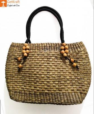 Medium-sized Handmade Straw Bag(#582)-gallery-0