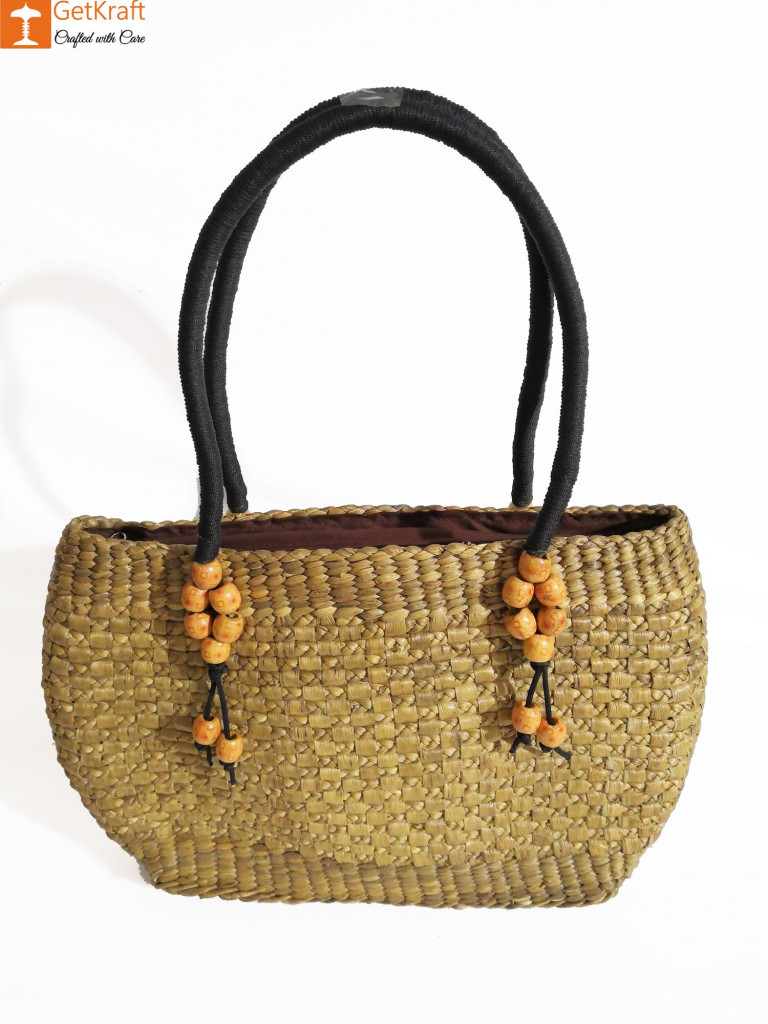 Medium-sized Handmade Straw Bag(#582)-gallery-1