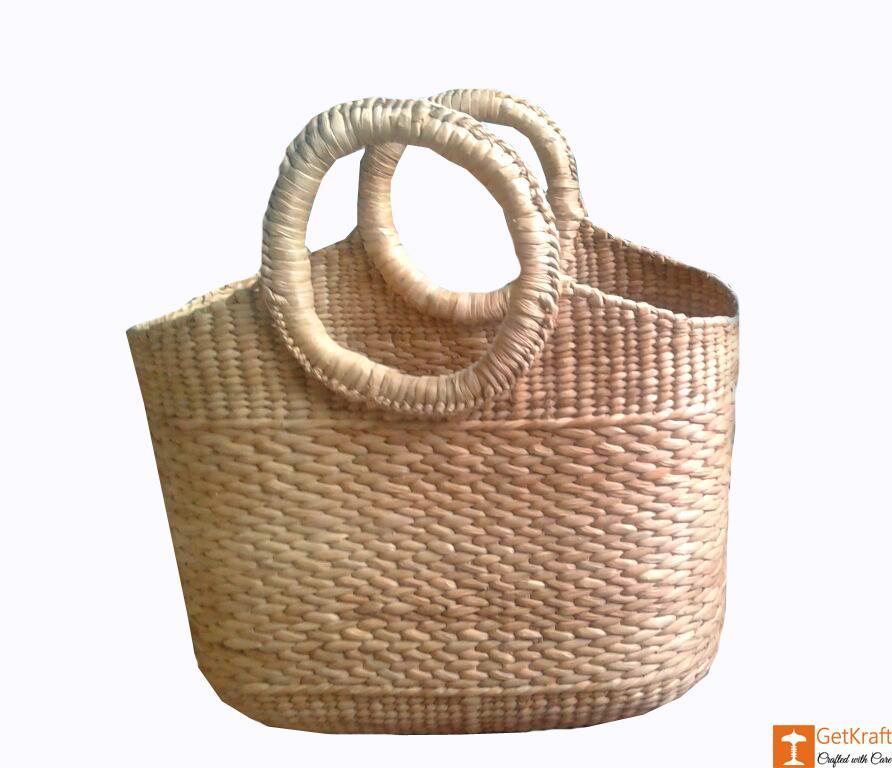 Large Natural Straw Shopping Handbag of Natural Color(#587)-gallery-0
