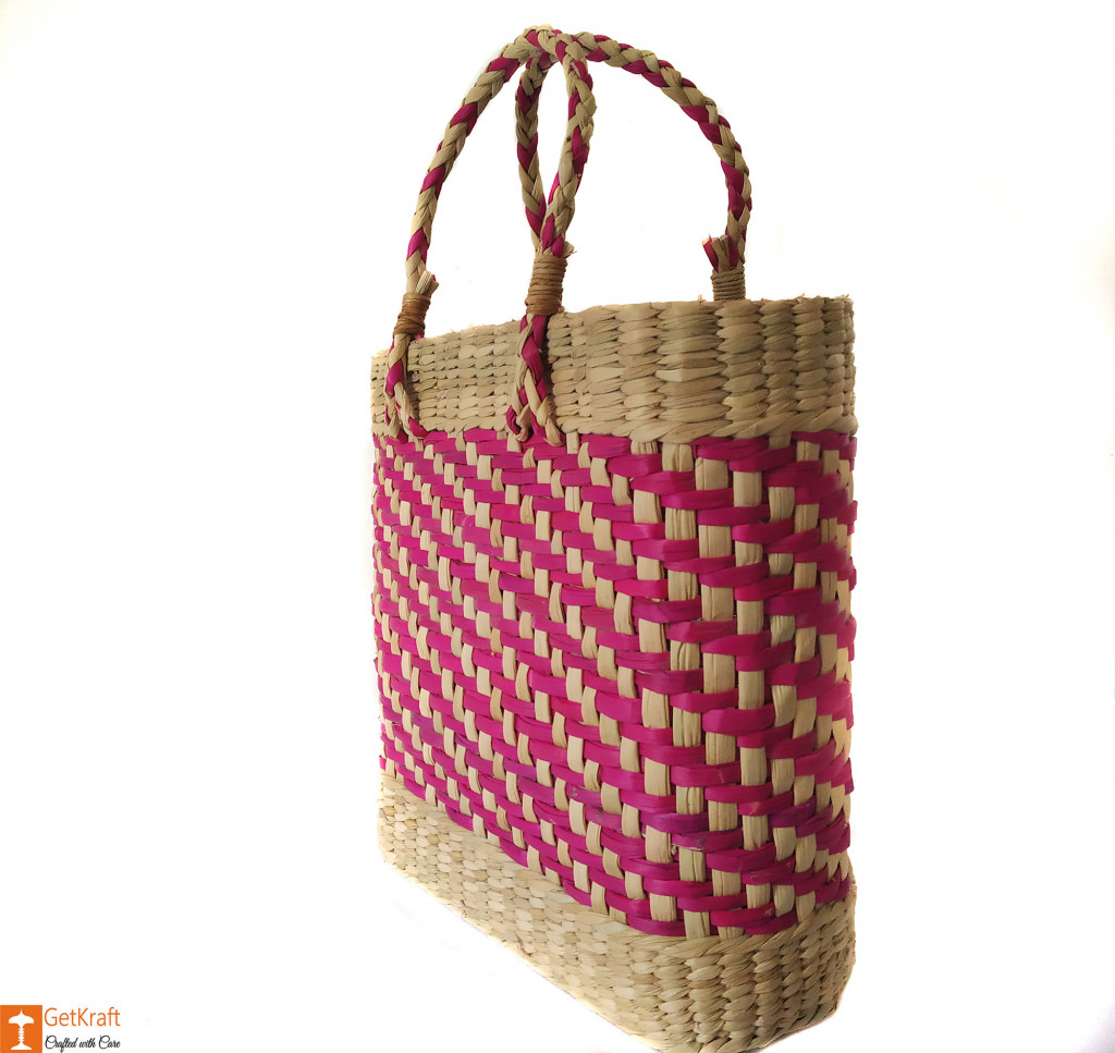 Large Natural Straw Handbag with patterned design in Pink color(#588)-gallery-1