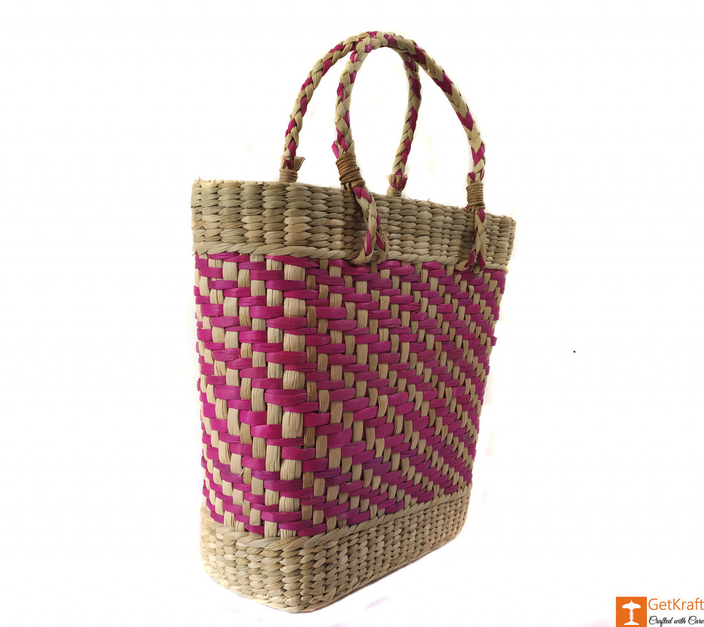 Large Natural Straw Handbag with patterned design in Pink color(#588)-gallery-2